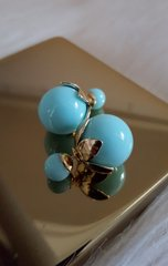 Double Side Pearl Balls Stud Top Brass Mint Earrings