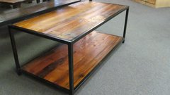 2' X 4' Reclaimed Pine w/ Shelf and Steel Base