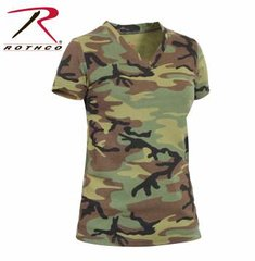 Womens Long Length Camo V-Neck T-Shirt