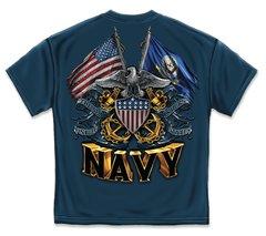 US NAVY T-SHIRT   DOUBLE FLAG EAGLE NAVY SHIELD   NAVY BLUE