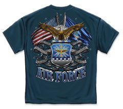 AIR FORCE T-SHIRT | DOUBLE FLAG AIR FORCE EAGLE | NAVY BLUE