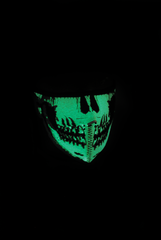 Neoprene Half Face Mask - Glow in the Dark Skull