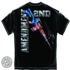 AR15 Second Amendment Flag Black T-Shirt