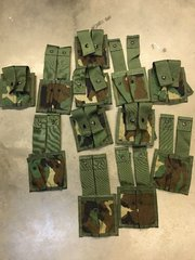 LOT OF 12 NEW - MILITARY MOLLE II 40 MULTI-PURPOSE POUCH (DOUBLE) WOODLAND CAMO