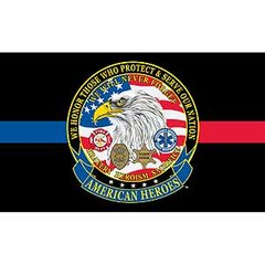 AMERICAN HEROES THIN RED & BLUE LINE FLAG