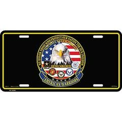 "AMERICAN WARRIORS LICENSE PLATE (6""X12"")"