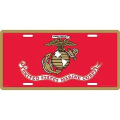 USMC LOGO FLAG LICENSE PLATE