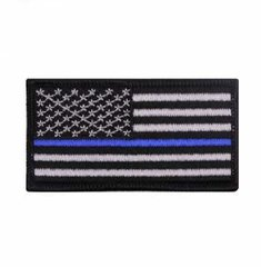 Thin Blue Line Flag Patch - Iron On