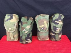 LOT OF 4 - MILITARY WOODLAND CAMO MOLLE II DOUBLE MAGAZINE M16A2 30 ROUNDS POUCH