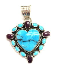 Sugilite and Turquoise Silver Pendant