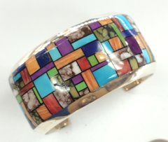 Large Beautiful Bracelet with Multi Color Inlay.