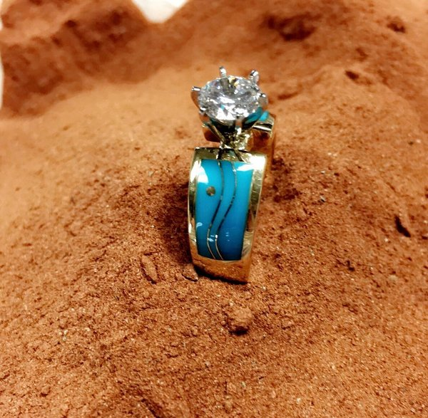 14K Yellow Gold Sleeping Beauty Turquoise Wedding Ring Scottsdale