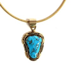 14K Gold Necklace with Kingman Turquoise.
