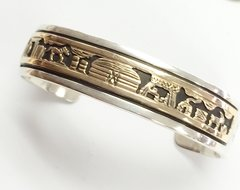 14K-Gold Over Silver Navajo Storyteller Bracelet