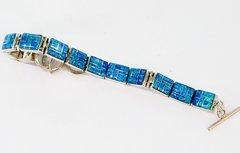 Silver Blue Lab Opal Link Bracelet