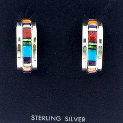 Multicolored Inlaid Silver Hoop Earrings