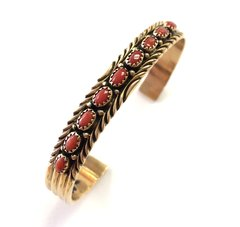14K Gold Navajo Cuff Bracelet With Coral .