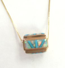 14K Gold Barrel With Turquoise and Lab Opal.
