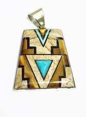 Tiger Eye Silver Pendant With Turquoise and Black
