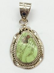 Green Turquoise Silver Navajo Pendant