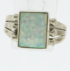 White Square Lap Opal Ring