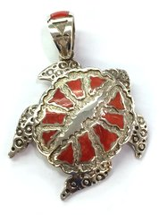 Navajo Coral Turtle Silver Pendant By Mike Perry
