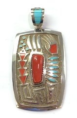 Navajo Coral and Turquoise Silver Pendant By Mike Perry