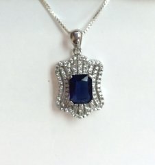 Silver Necklace with Synthetic Stone and CZ