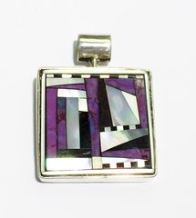 Square Mother Purl and Sugilite Pendant