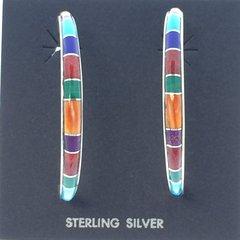 Mixed Color Silver Hoop Earrings.