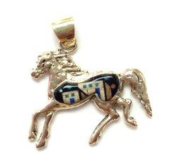 14K Gold Pueblo Horse Pendant Multi Color.