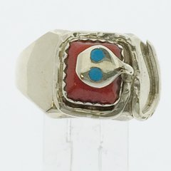 Effie Silver Ring with Coral and Turquoise
