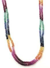 Multicolored Sapphire Multi Bead Necklace