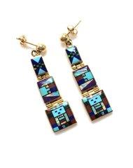 14K-Gold Earring Multi Color.