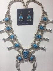Kingman Turquoise Set: Squash Blossom with Earrings