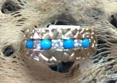 14K Gold Ring With Diamonds And Persian Turquoise.