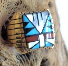 14K Gold Zuni Ring Multi Color.