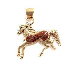 14K Gold Coral Horse Pendant
