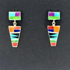 Multi colored silver inlay Earrings