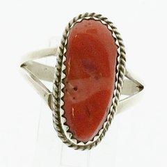 Natural Coral Silver Ring