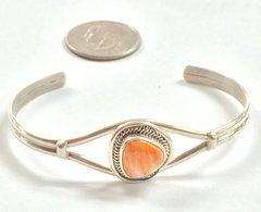 Silver Orange Spiny Navajo Bracelet