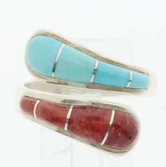 Adjustable Turquoise and Coral sterling silver Ring