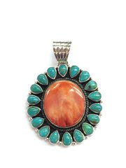 Spiny and Turquoise Silver Oval Pendant