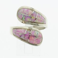 Silver Pink Lap Opal Ring