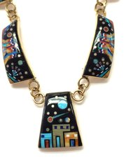 14K Gold Necklace Night Vision Inlay