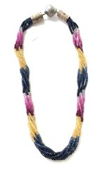 Multicolored Sapphire Bead Necklace With Silver.