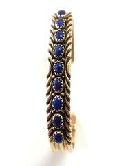 14K Gold Navajo Cuff Bracelet With Lapis.