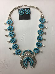 Sleeping Beauty Turquoise Set: Squash Blossom with Earrings