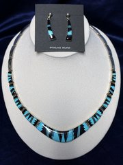 Turquoise & Black Set Necklace and Earring