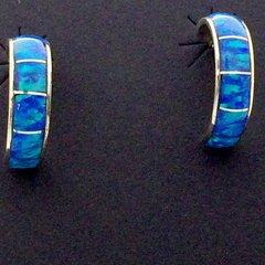 Silver Blue Lap Opal Earring